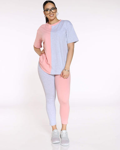 Women's Teanna Split Color Block Tee - Pink Grey-VIM.COM
