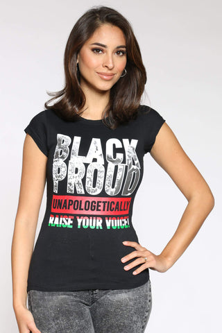 Women's Idamae Proud Raise Your Voice Tee - Black