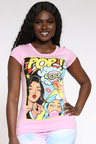 Women's Pop Comic Rhinestones Tee - Pink