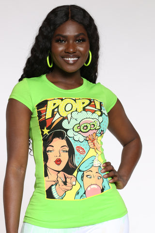 Women's Pop Comic Rhinestones Tee - Lime-VIM.COM