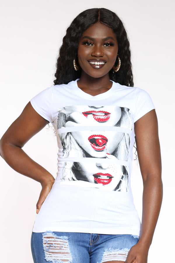 Women's Girl Lips Rhinestone Top - White-VIM.COM
