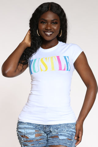Women's Hustle Rainbow Stones Tee - White