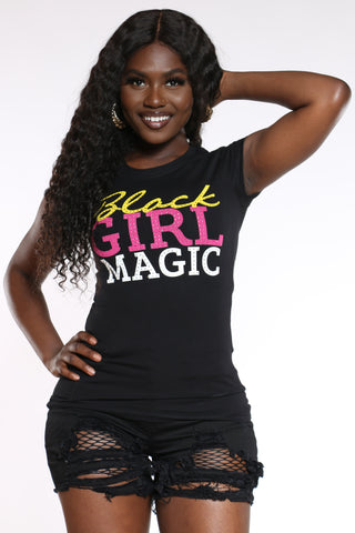 Women's Black Girl Magic Stones Tee - Black