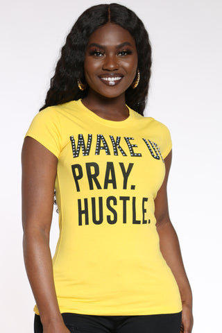 Women's Wake Up Pray Hustle Stones Top - Yellow