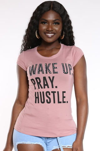 Women's Wake Up Pray Hustle Stones Top - Mauve