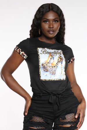 Women's Beautiful Cheetah Trim Stones Top - Black-VIM.COM
