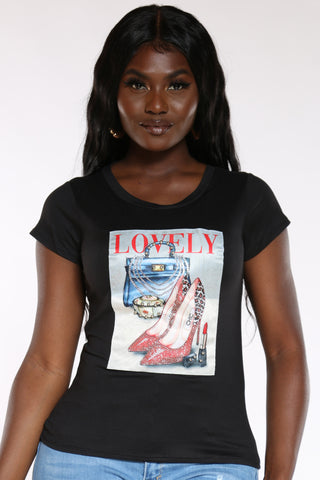 Women's Lovely Stones Bag Lipstick Tee - Black-VIM.COM