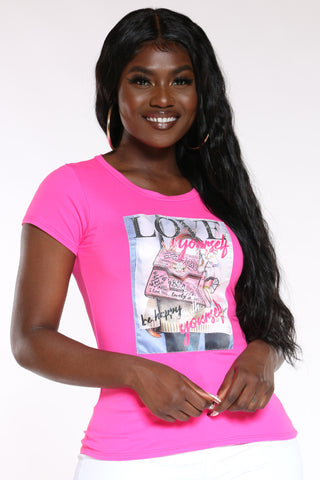 Women's Love Bag Be Happy Tee - Fuchsia-VIM.COM