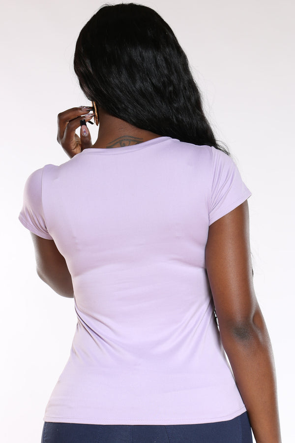 Women's Blessed Stones Bag Heels Tee - Lavender