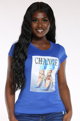 Women's Change Lace Heel Tee - Royal-VIM.COM