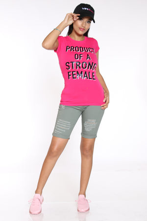 Women's Product Of A Strong Female Tee - Hot Pink