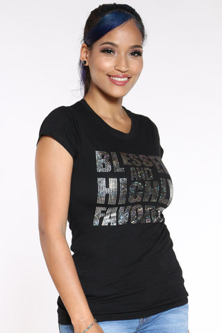 Women's Blessed & Highly Favored Tee - Black-VIM.COM