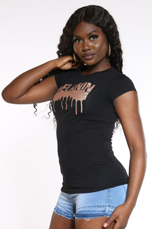 Women's Melanin Dripping Rose Glitter Top - Black