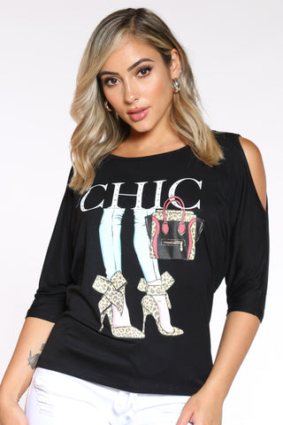 Women's Off Shoulder Chic Heels Tee - Black