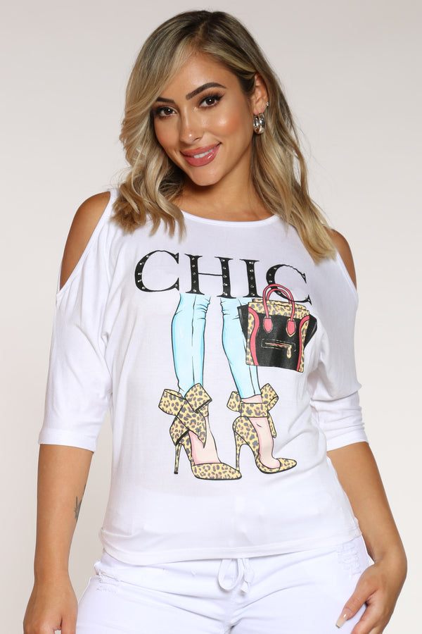 Women's Off Shoulder Chic Heels Tee - White-VIM.COM