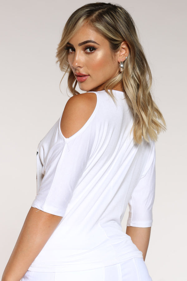 Women's Off Shoulder Chic Heels Tee - White