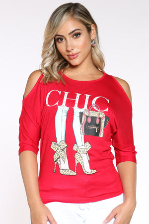 Women's Off Shoulder Chic Heels Tee - Red-VIM.COM