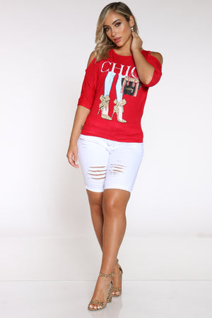 Women's Off Shoulder Chic Heels Tee - Red