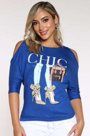 Women's Off Shoulder Chic Heels Tee - Royal-VIM.COM