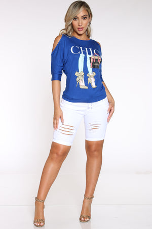 Women's Off Shoulder Chic Heels Tee - Royal