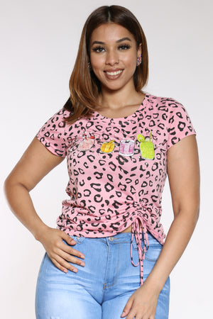 Women's Leopard Drinks Pearls Top - Pink-VIM.COM