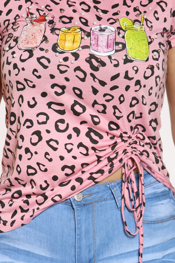Women's Leopard Drinks Pearls Top - Pink