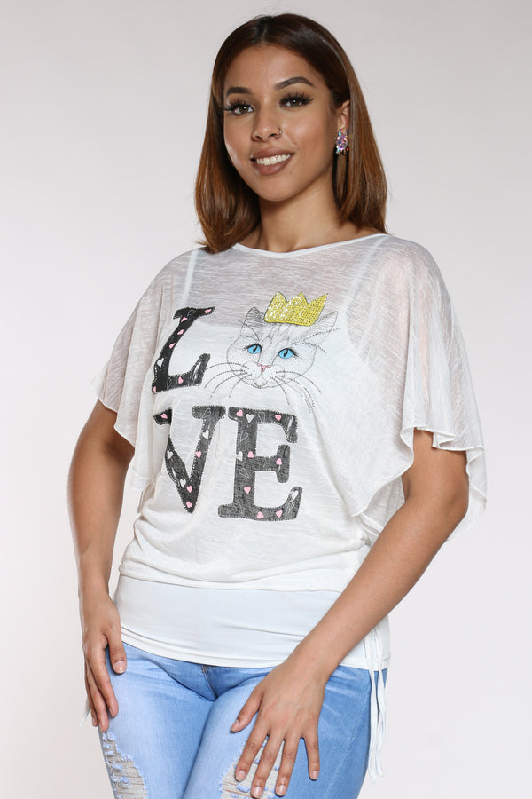 Women's Love Cat Stones Top - White-VIM.COM