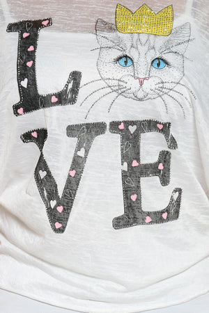 Women's Love Cat Stones Top - White