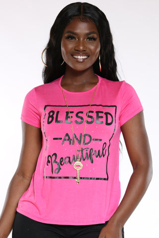 Women's Blessed & Beautiful Top - Red-VIM.COM