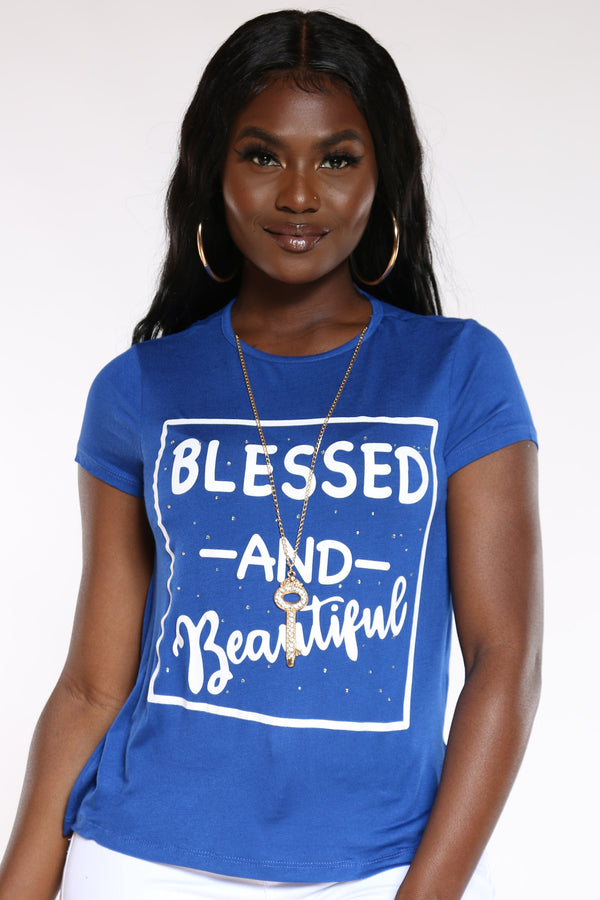 Women's Blessed & Beautiful Top - Blue-VIM.COM
