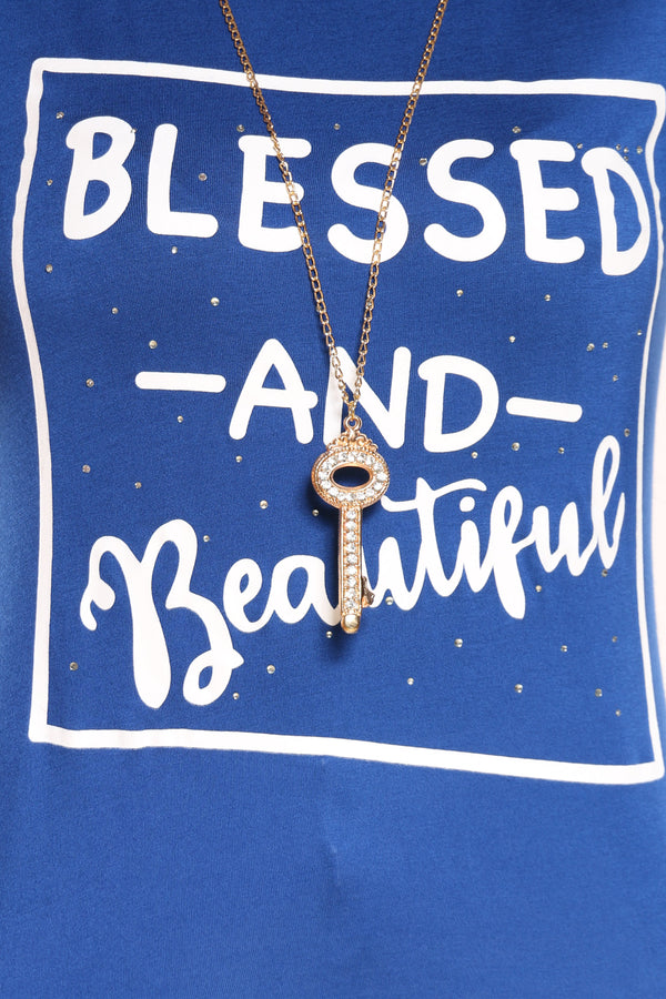 Women's Blessed & Beautiful Top - Blue