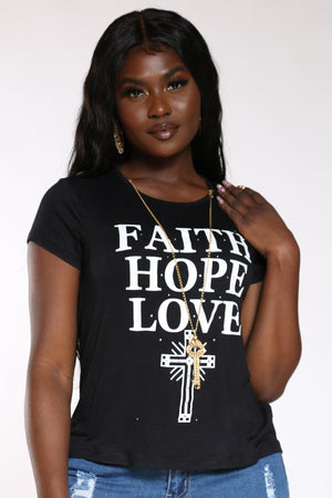 Women's Faith Hope Lve Stones Top - Black-VIM.COM