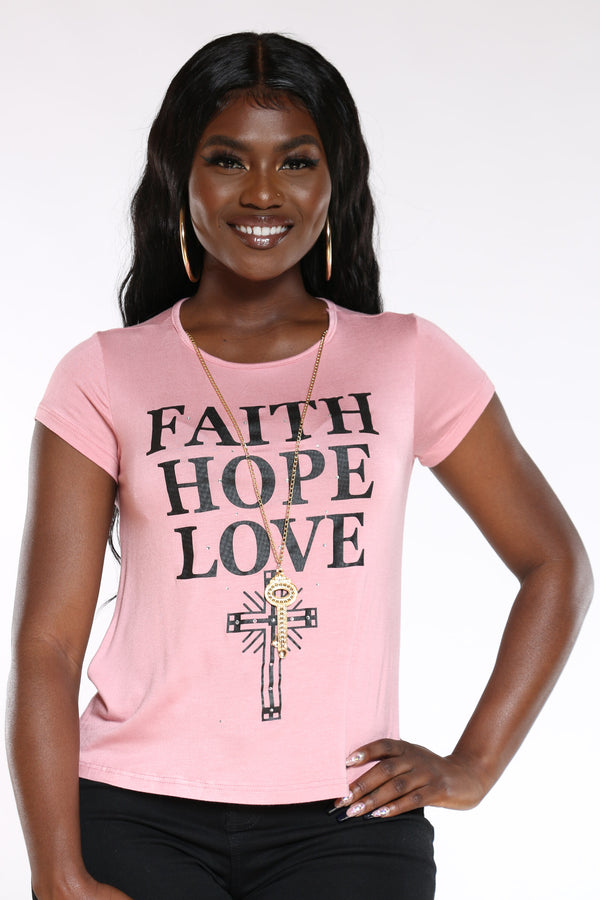 Women's Faith Hope Lve Stones Top - Blush-VIM.COM