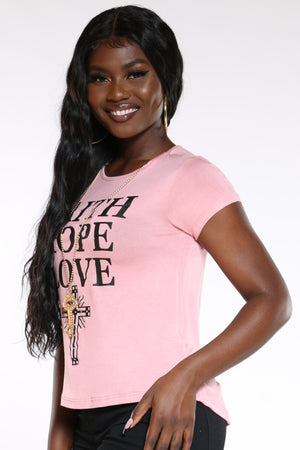 Women's Faith Hope Lve Stones Top - Blush