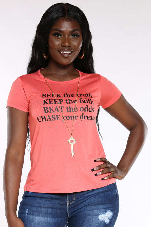 Women's Seek The Truth Stones Top - Coral-VIM.COM