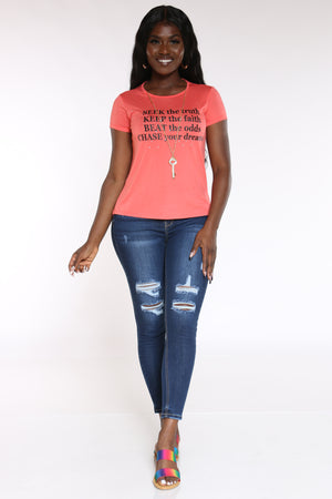 Women's Seek The Truth Stones Top - Coral