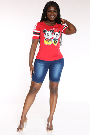 Women's Mickey & Minnie Sitting Top - Red
