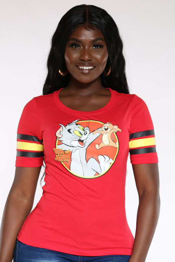 Women's Tom & Jerry Stripe Sleeve Hockey Tee - Red-VIM.COM
