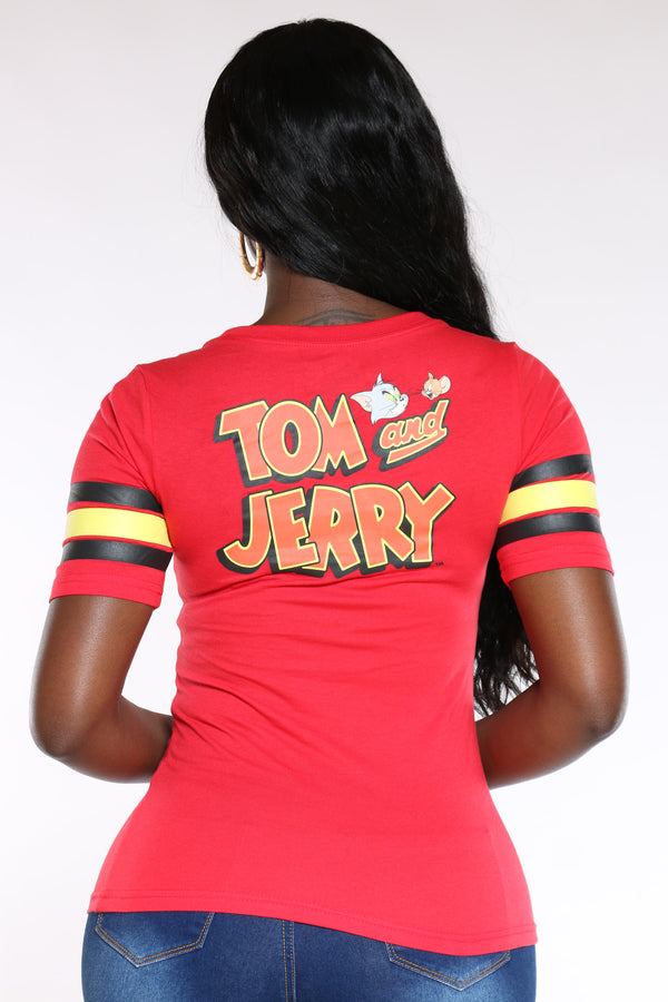 Women's Tom & Jerry Stripe Sleeve Hockey Tee - Red