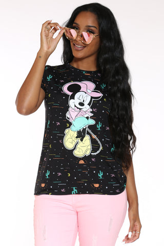 Women's Minnie Cowgirl Tee - Black-VIM.COM