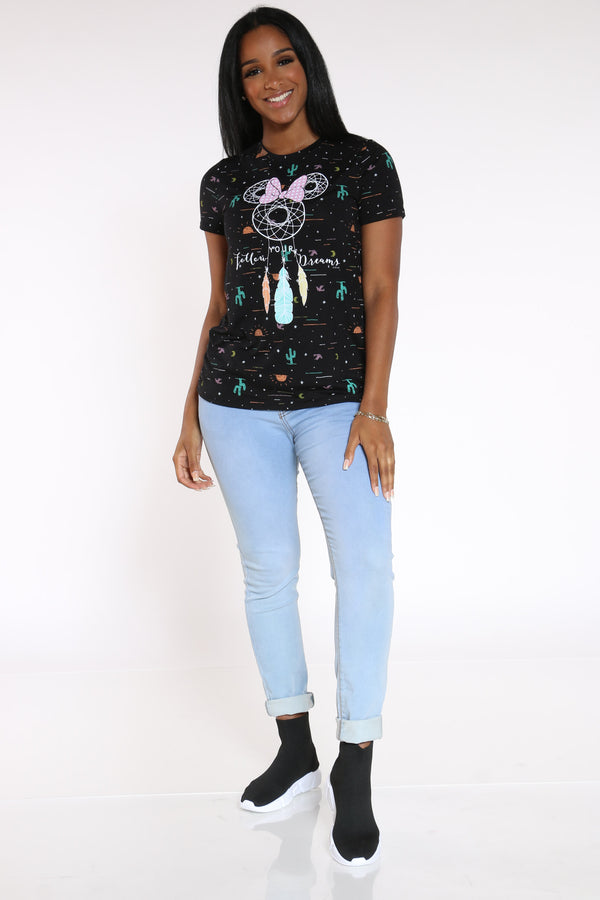 Women's Minnie Dreamcatcher Tee - Black