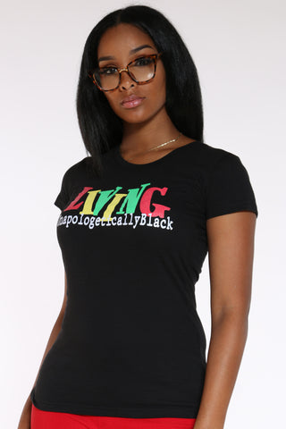 Women's Living Unapologetically Tee - Black-VIM.COM