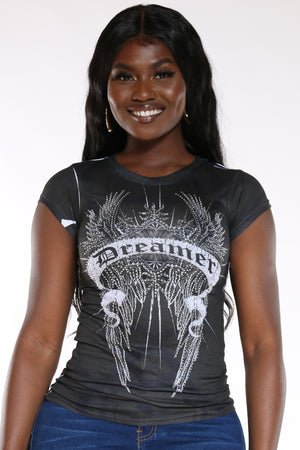 Women's Dream Wings Rhinestone Top - Black-VIM.COM