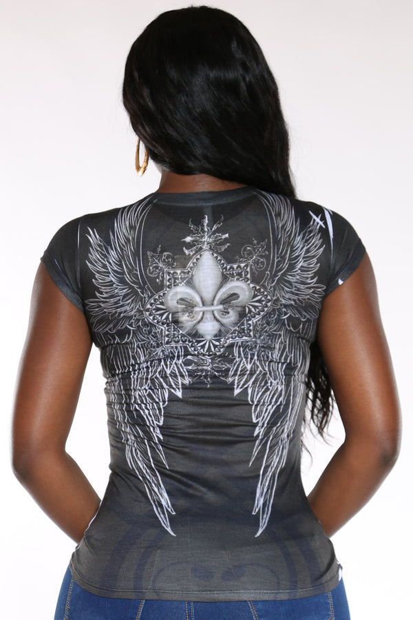 Women's Dream Wings Rhinestone Top - Black