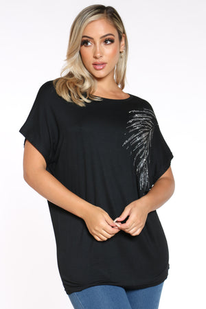 Women's Leaf Top - Black-VIM.COM