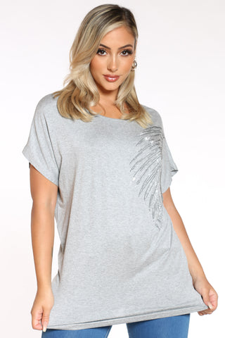 Women's Leaf Top - Grey