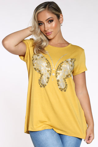 Women's Butterfly Stones Tee - Gold-VIM.COM