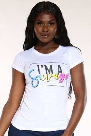 Women's Im A Savage Glitter Top - White-VIM.COM