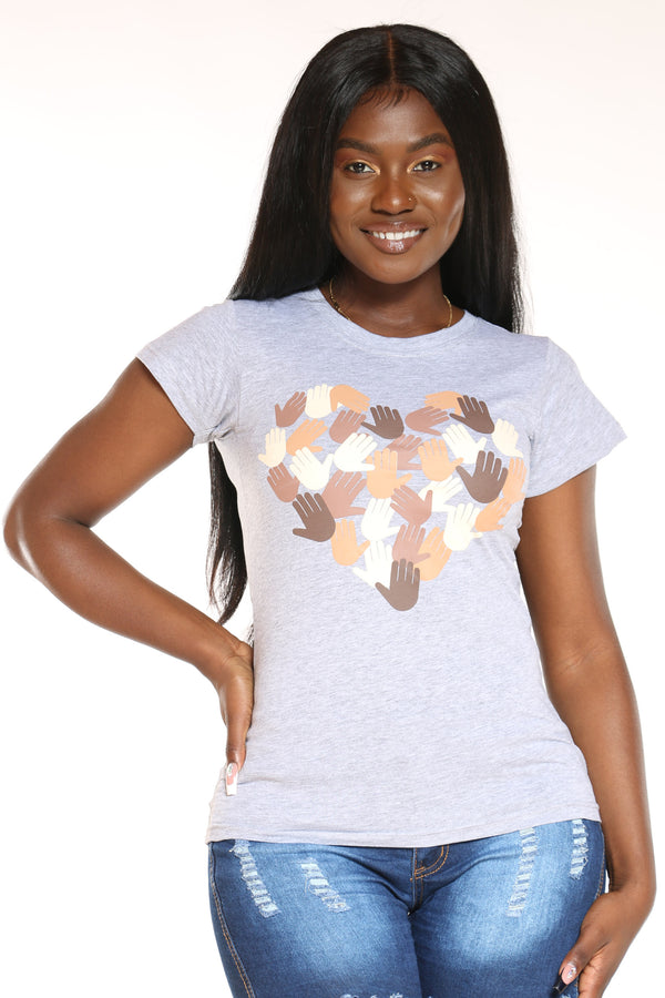 Women's Hands Heart Tee - Heather Grey-VIM.COM