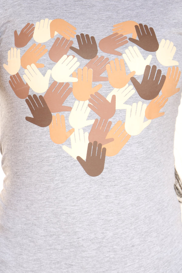 Women's Hands Heart Tee - Heather Grey